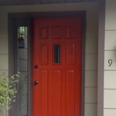 remove storm screen door and paint front door red