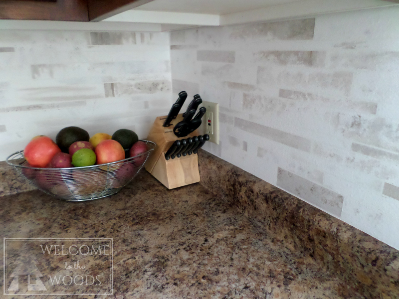 faux marble modern tile backsplash painted on for a total project cost
