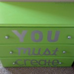 Lime Green Craft Dresser Makeover