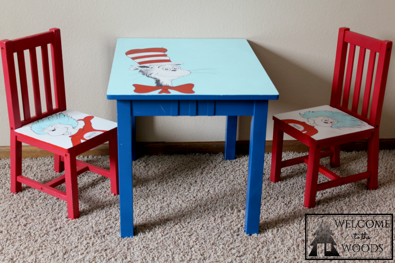 Hand painted table and chairs Cat in the Hat, Thing 1 & 2, Dr. Seuss theme kids furniture