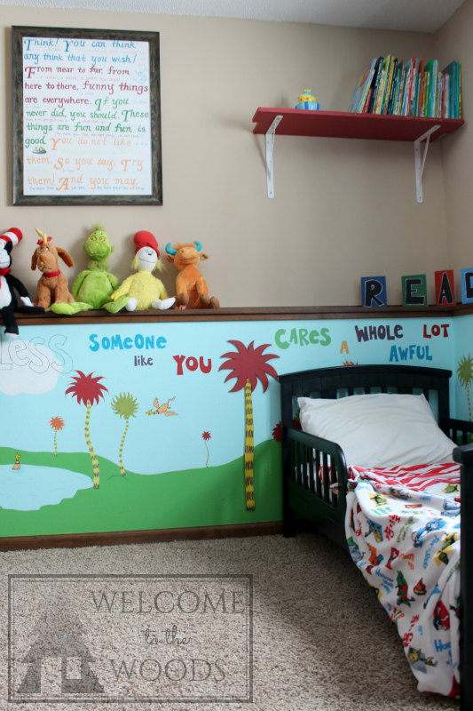 Dr. Suess inspired bedroom playroom design. Diy, craft, Cat in the Hat, The Lorax, One Fish Two Fish