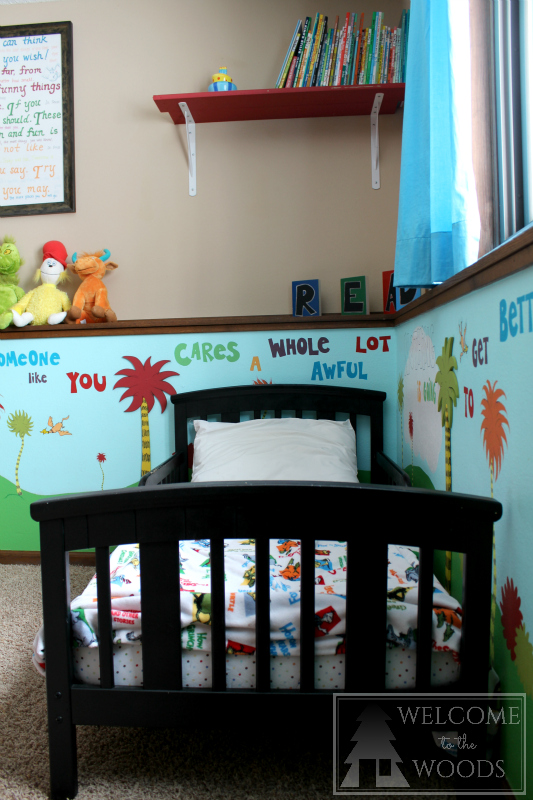 Dr. Seuss room complete with mural and hand painted furniture