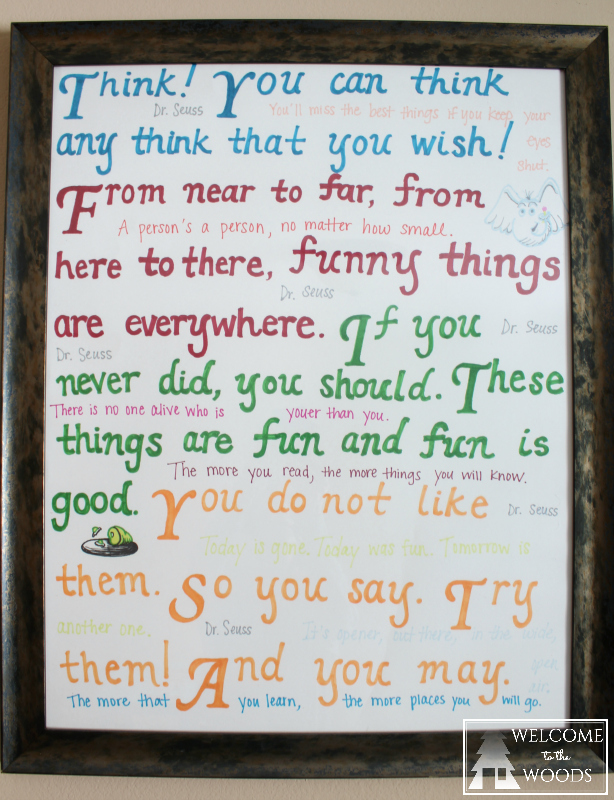 Poster wall decor of Dr. Seuss quotes inspirational collage.