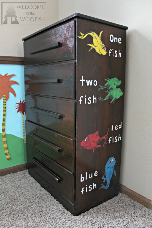 Dr. Seuss Dresser Sticker Decals of One Fish Two Fish Red Fish Blue Fish children's book.