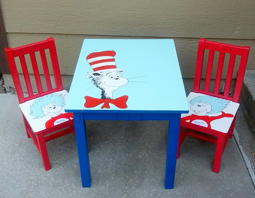 Dr. Seuss Table and Chairs - Cat in the Hat hand-painted set