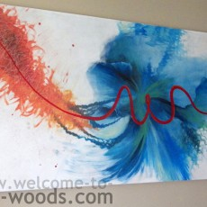 blue red teal orange abstract flower painting