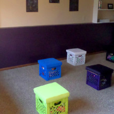 playroom reveal with diy projects like no sew pillow covers, painted wall letters, toy storage crates, and more!