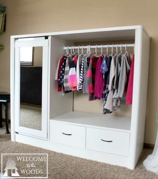 Entertainment Center turned closet armoire for girls bedroom dress up