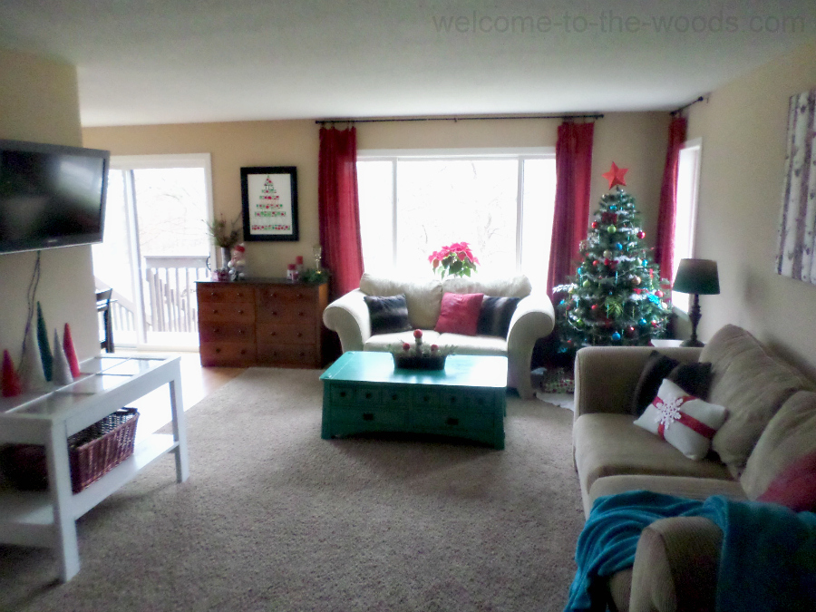 A living room decked out with Christmas decor.
