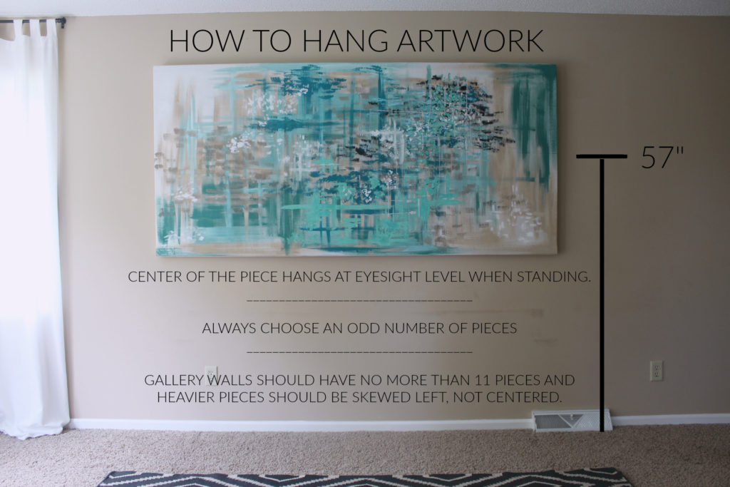 How to properly hang artwork so that it is visually attractive.
