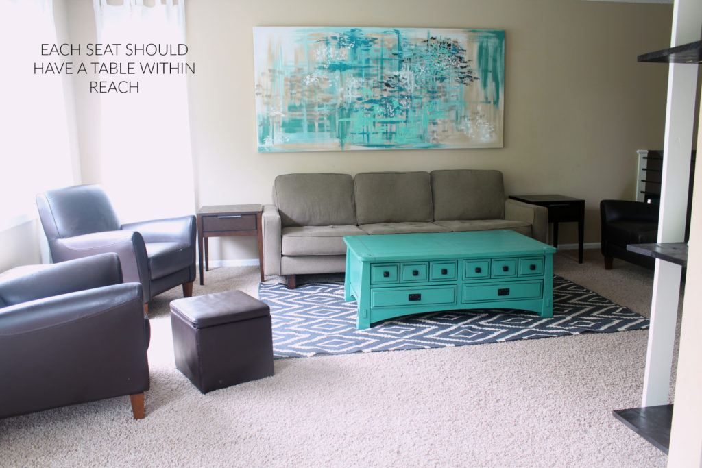 Adding enough accent furniture in a gathering space increases comfort and functionality.