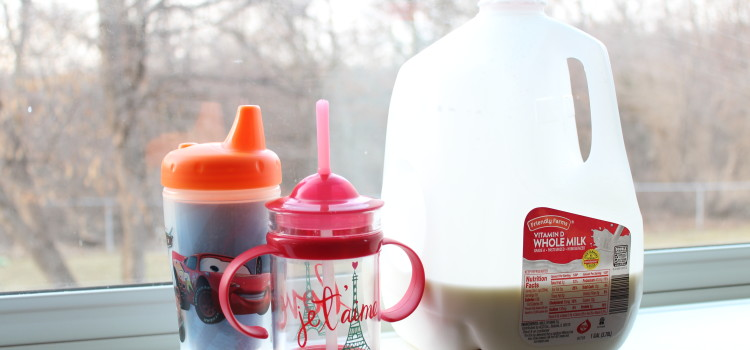 Weaning baby from Breastfeeding onto milk and drinking from a sippy cup.