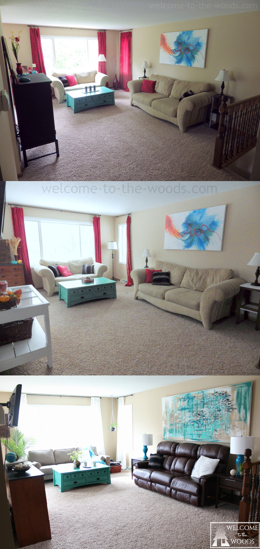 Living room transformation; Before & After makeover photographs the evolution of style.