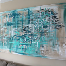 A large wall canvas you can diy for your living room with a curtain panel and scrap 2 x 4 wood!