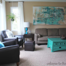 Teal and gray living room design, modern decor