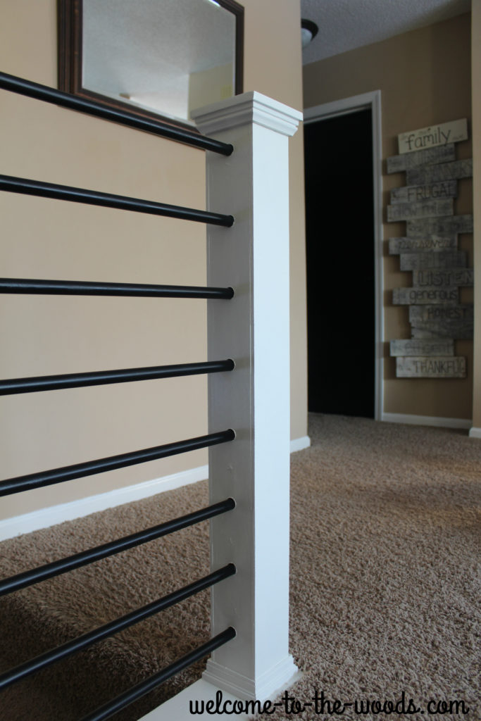 Newel Post refacing, how to and video tutorial. I love this modern stair design!