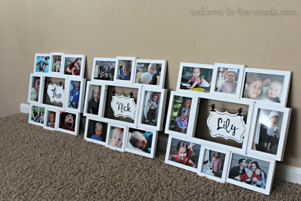 Set of 3 white frame photo wall collage arrangement