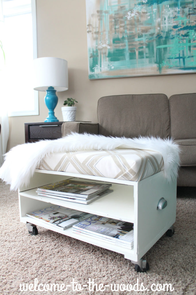 Ottoman makeover including a step-by-step tutorial for how to make a cushion that sits on top of the furniture. I love this modern, white piece and could also see it used as a bench!