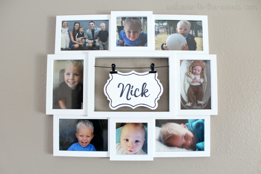 Great gift idea! Fill a photo collage with picture of the grandkid to be used as wall decor.