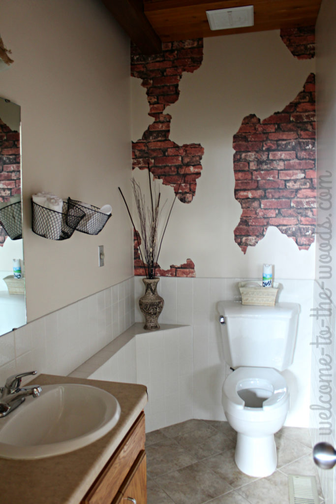 Apply a faux brick and plaster wall in small spaces to give character and charm.