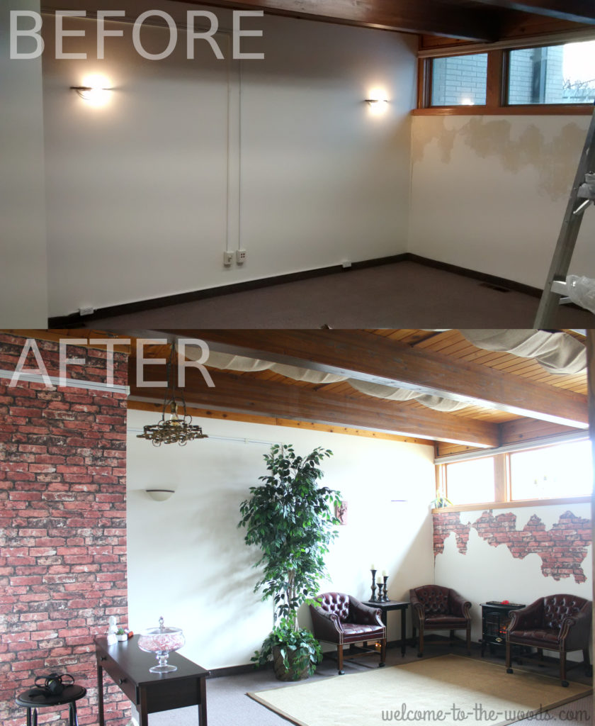 Faux brick and plaster wall finish photo tutorial. The before and after is so cool!
