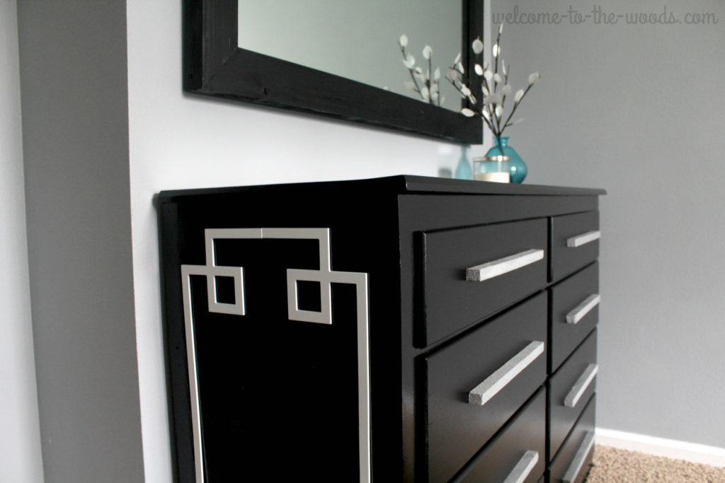 A modern black dresser furniture flip transformation. Love this redo!