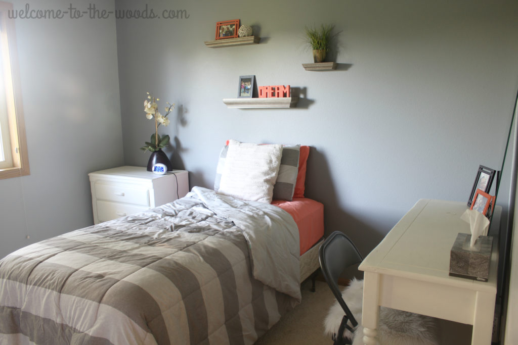 Girls bedroom makeover for teenage in coral and gray
