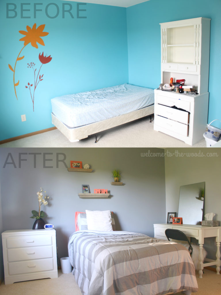Gray and coral colors redesigned this teenager girls bedroom makeover BEFORE & AFTER