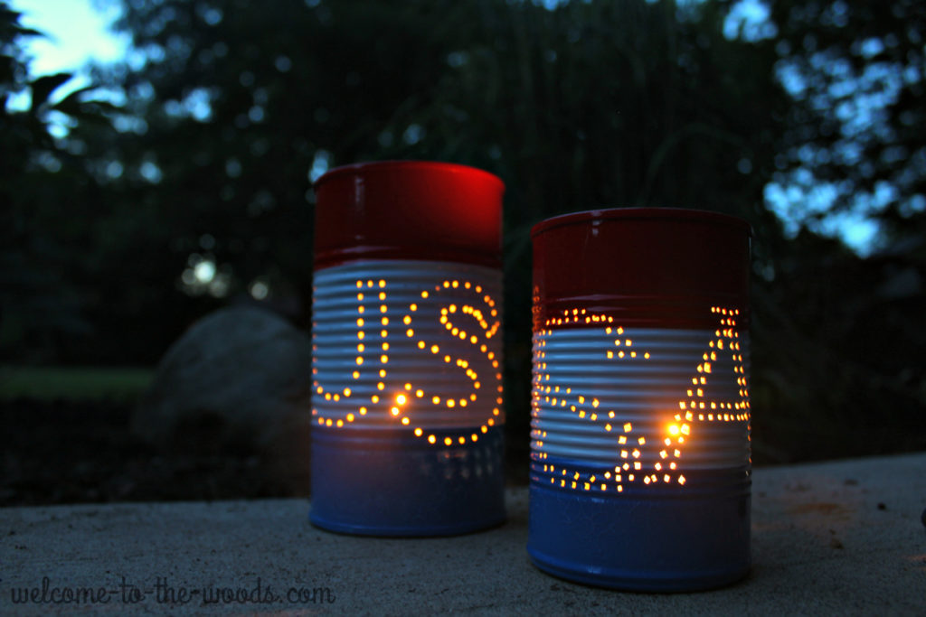 This 4th of July craft Tin Can Luminaries is so easy you can create them with your kids using this step by step photo tutorial.