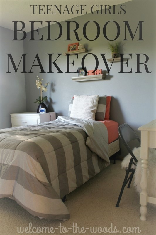 Gray and coral were used to design a teenage girls bedroom makeover