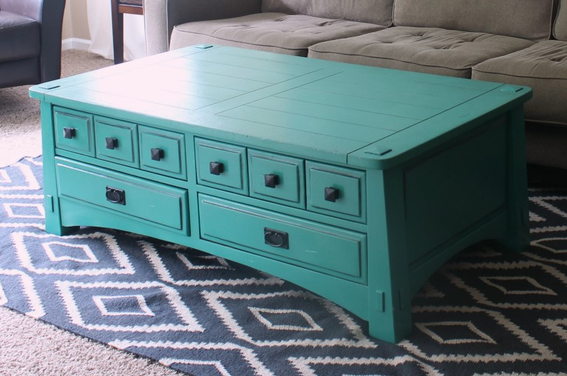 Teal Turquoise Painted Coffee Table Furniture Makeover