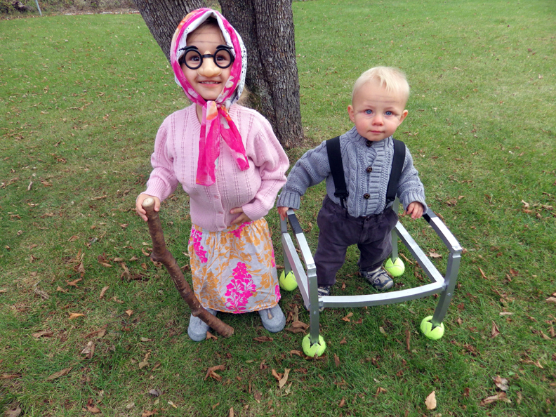 baby toddler dressed as elderly halloween costumes