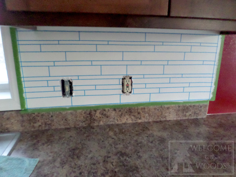 Skinny Painters Tape Used As Grout Line In Painted Faux Tile Back Splash Diy  Project