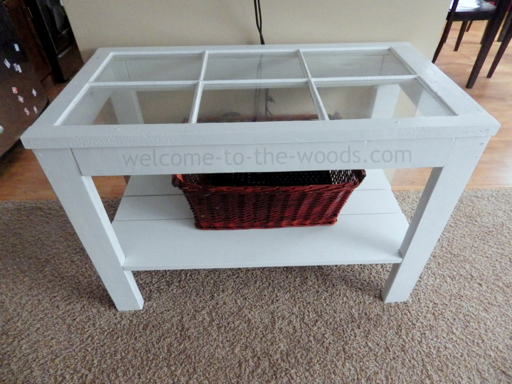 white barn window console table
