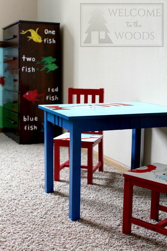Hand painted furniture Suess theme, table and chairs for kids and a sticker decal dresser design