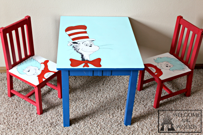 Hand Painted Table And Chairs Cat In The Hat, Thing 1 U0026 2, Dr