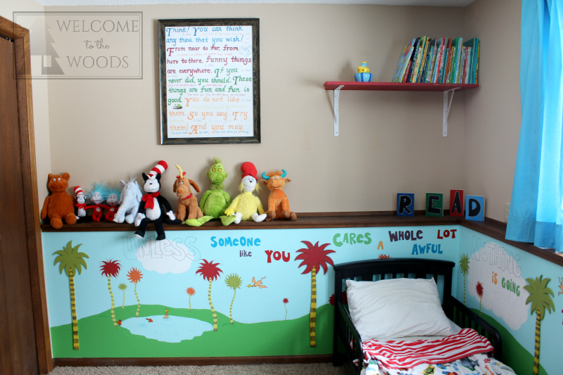 Kids room inspired by children's book author Dr. Seuss. Amazing DIY projects in this space!