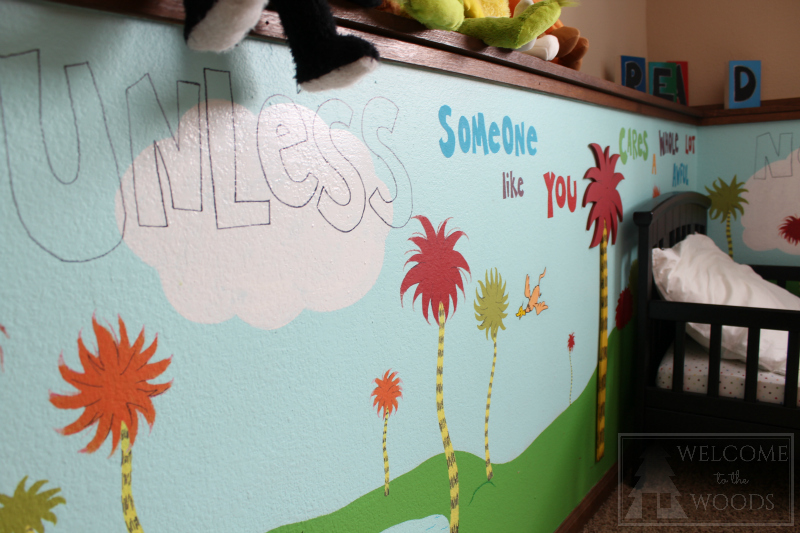 Hand painted diy mural of Dr. Seuss's The Lorax with 3D Truffula trees!