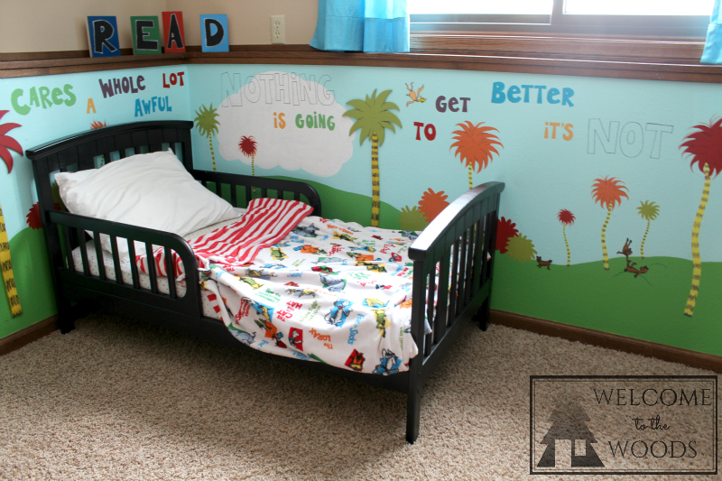 Dr. Seuss Inspired Bedspread For Toddler Room.