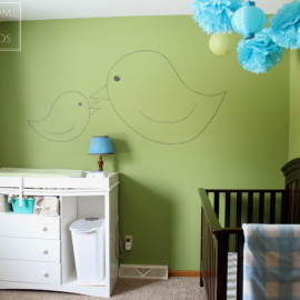 Nursery design white changing table and espresso crib, you don't need to match paint/stain colors!