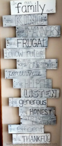 pallet sign family values rules decor discipline