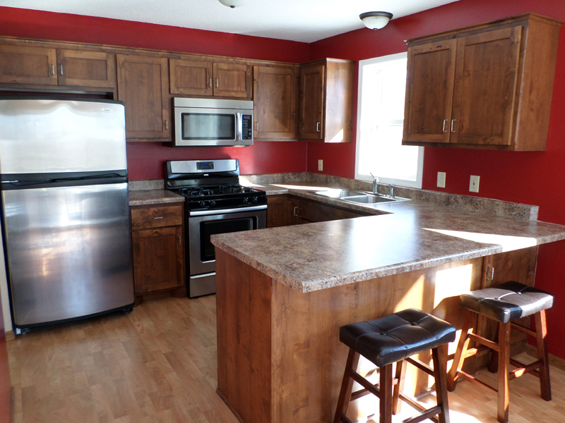 Kitchen stainless appliances red walls