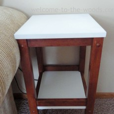 modern white and stained end table