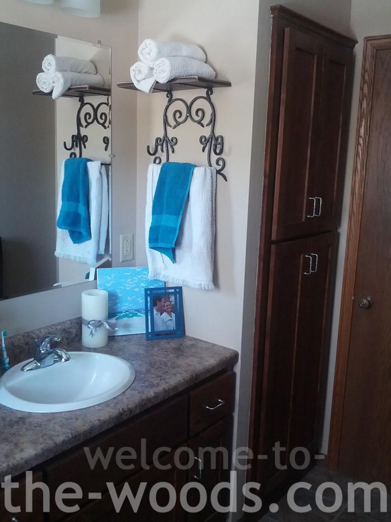 beige builder grade bathroom towel