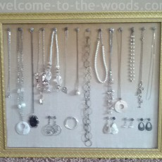 hanging wall jewelry organizer gold