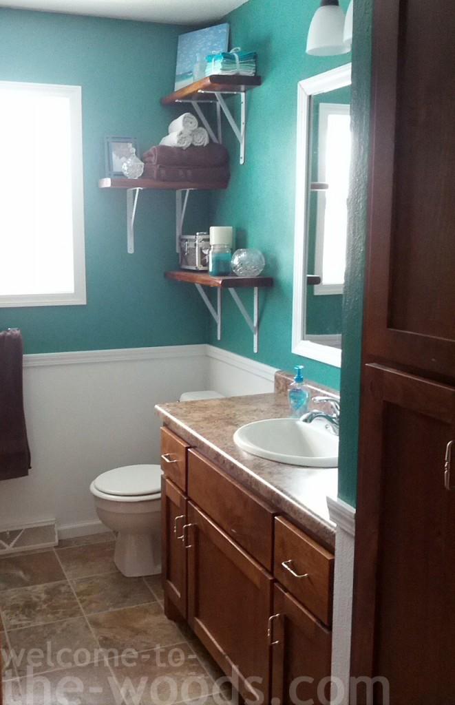 Bathroom Redo teal white wainscoting