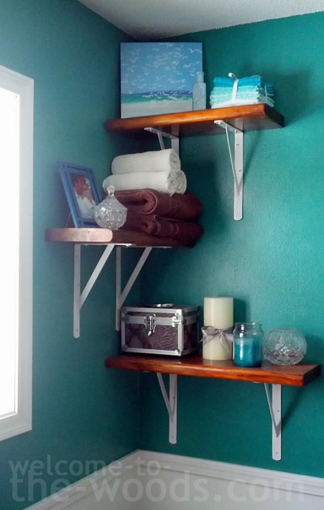 reclaimed wood alternating bathroom shelves