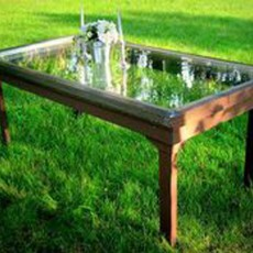 glass patio table made out of door