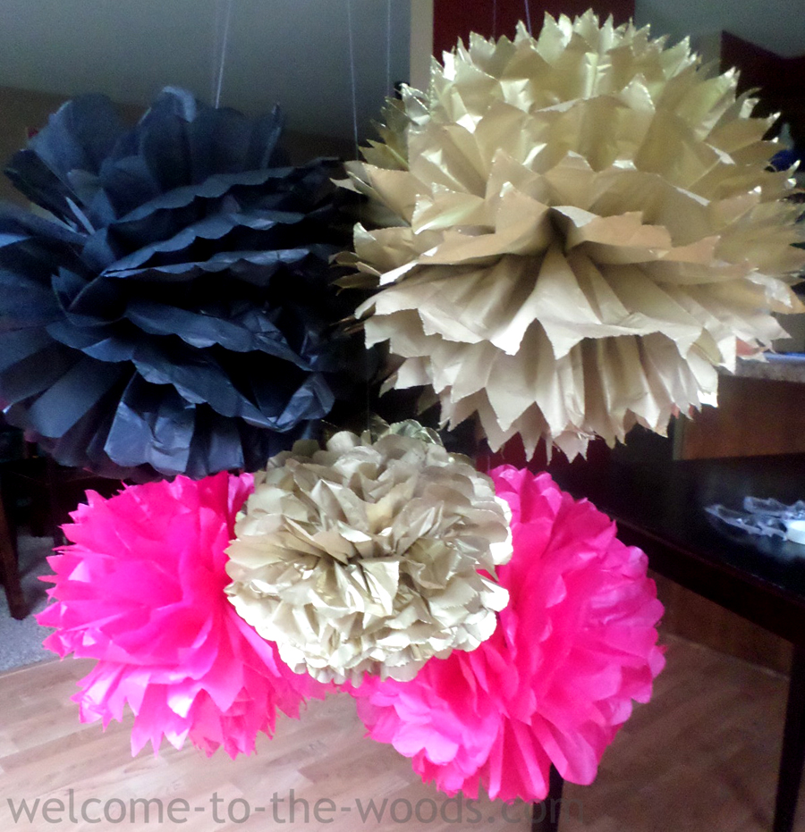 tissue paper pom poms tutorial welcome to the woods. Black Bedroom Furniture Sets. Home Design Ideas