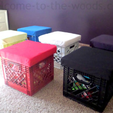 Win the battle with toys in your house. Create this diy storage by building a lid and padded seat on top of old milk crates. Briliant idea from Welcome to the Woods